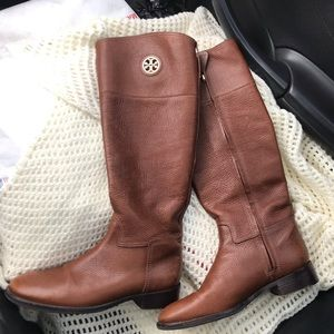 TORY BURCH Junction Riding Boots Almond Leather